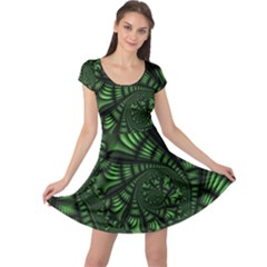 Fractal Drawing Green Spirals Cap Sleeve Dresses