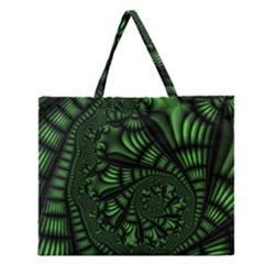 Fractal Drawing Green Spirals Zipper Large Tote Bag by Simbadda