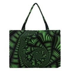 Fractal Drawing Green Spirals Medium Tote Bag by Simbadda
