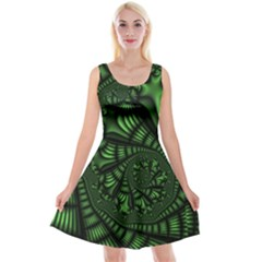 Fractal Drawing Green Spirals Reversible Velvet Sleeveless Dress by Simbadda