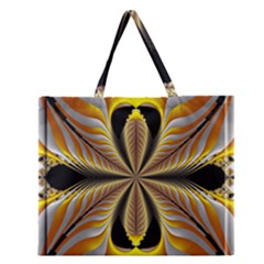 Fractal Yellow Butterfly In 3d Glass Frame Zipper Large Tote Bag by Simbadda