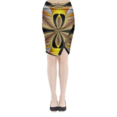 Fractal Yellow Butterfly In 3d Glass Frame Midi Wrap Pencil Skirt