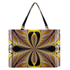 Fractal Yellow Butterfly In 3d Glass Frame Medium Zipper Tote Bag by Simbadda