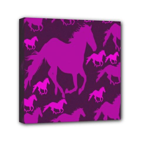 Pink Horses Horse Animals Pattern Colorful Colors Mini Canvas 6  X 6  by Simbadda
