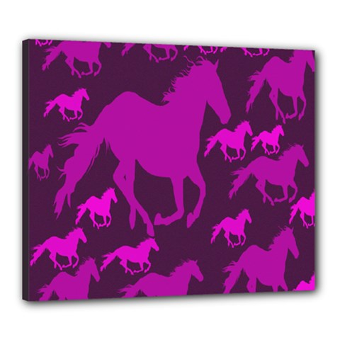 Pink Horses Horse Animals Pattern Colorful Colors Canvas 24  X 20  by Simbadda