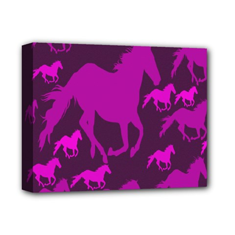 Pink Horses Horse Animals Pattern Colorful Colors Deluxe Canvas 14  X 11  by Simbadda
