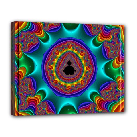 3d Glass Frame With Kaleidoscopic Color Fractal Imag Canvas 14  X 11  by Simbadda