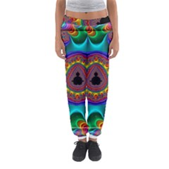 3d Glass Frame With Kaleidoscopic Color Fractal Imag Women s Jogger Sweatpants by Simbadda