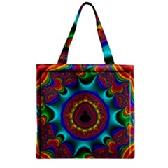 3d Glass Frame With Kaleidoscopic Color Fractal Imag Zipper Grocery Tote Bag by Simbadda