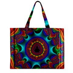 3d Glass Frame With Kaleidoscopic Color Fractal Imag Zipper Mini Tote Bag by Simbadda