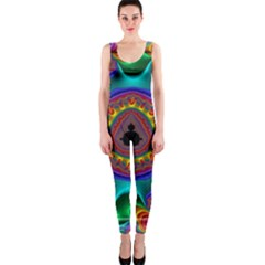 3d Glass Frame With Kaleidoscopic Color Fractal Imag Onepiece Catsuit by Simbadda