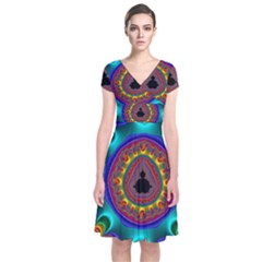 3d Glass Frame With Kaleidoscopic Color Fractal Imag Short Sleeve Front Wrap Dress