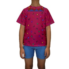 Red Abstract A Colorful Modern Illustration Kids  Short Sleeve Swimwear