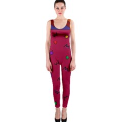 Red Abstract A Colorful Modern Illustration Onepiece Catsuit by Simbadda