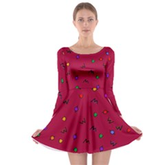 Red Abstract A Colorful Modern Illustration Long Sleeve Skater Dress