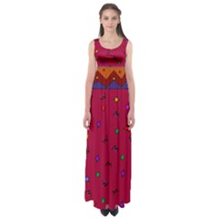 Red Abstract A Colorful Modern Illustration Empire Waist Maxi Dress