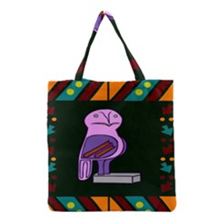 Owl A Colorful Modern Illustration For Lovers Grocery Tote Bag by Simbadda