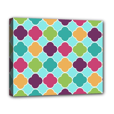 Colorful Quatrefoil Pattern Wallpaper Background Design Deluxe Canvas 20  X 16   by Simbadda