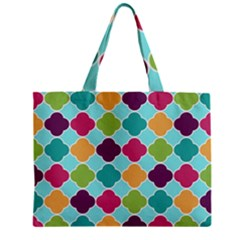 Colorful Quatrefoil Pattern Wallpaper Background Design Zipper Mini Tote Bag
