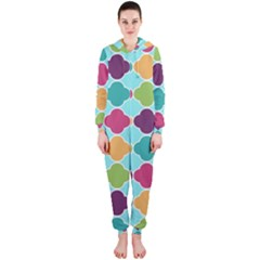 Colorful Quatrefoil Pattern Wallpaper Background Design Hooded Jumpsuit (ladies)