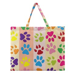 Colorful Animal Paw Prints Background Zipper Large Tote Bag by Simbadda