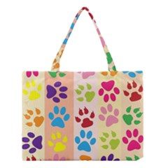 Colorful Animal Paw Prints Background Medium Tote Bag