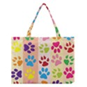 Colorful Animal Paw Prints Background Medium Tote Bag View1