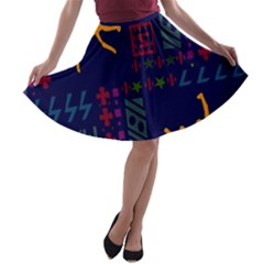 A Colorful Modern Illustration For Lovers A Line Skater Skirt by Simbadda