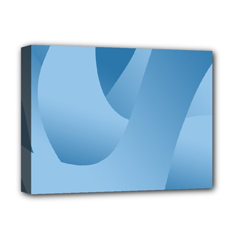 Abstract Blue Background Swirls Deluxe Canvas 16  X 12   by Simbadda