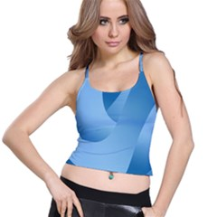 Abstract Blue Background Swirls Spaghetti Strap Bra Top by Simbadda