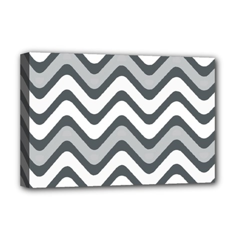Shades Of Grey And White Wavy Lines Background Wallpaper Deluxe Canvas 18  X 12   by Simbadda