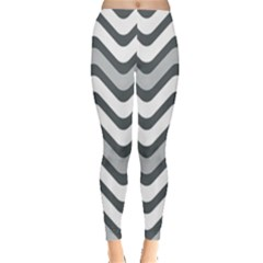 Shades Of Grey And White Wavy Lines Background Wallpaper Leggings  by Simbadda