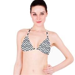 Shades Of Grey And White Wavy Lines Background Wallpaper Bikini Top by Simbadda