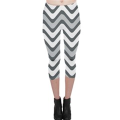 Shades Of Grey And White Wavy Lines Background Wallpaper Capri Leggings  by Simbadda