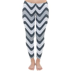 Shades Of Grey And White Wavy Lines Background Wallpaper Classic Winter Leggings by Simbadda