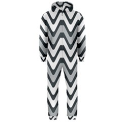 Shades Of Grey And White Wavy Lines Background Wallpaper Hooded Jumpsuit (men)