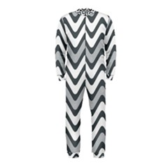Shades Of Grey And White Wavy Lines Background Wallpaper Onepiece Jumpsuit (kids) by Simbadda