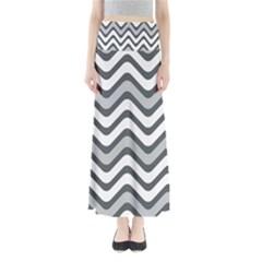 Shades Of Grey And White Wavy Lines Background Wallpaper Maxi Skirts by Simbadda