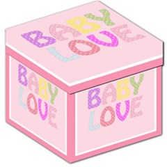 Pink Baby Love Text In Colorful Polka Dots Storage Stool 12   by Simbadda