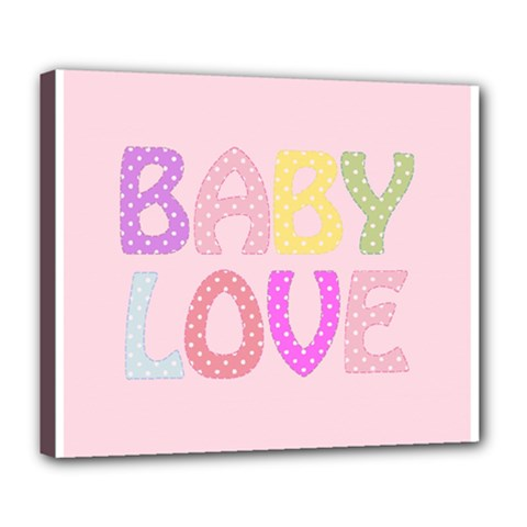 Pink Baby Love Text In Colorful Polka Dots Deluxe Canvas 24  X 20   by Simbadda