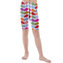 Colorful Bright Leaf Pattern Background Kids  Mid Length Swim Shorts