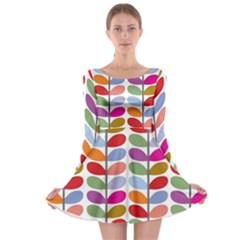 Colorful Bright Leaf Pattern Background Long Sleeve Skater Dress
