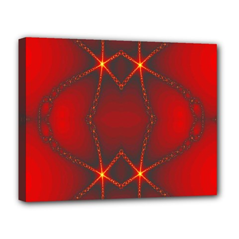 Impressive Red Fractal Canvas 14  X 11  by Simbadda