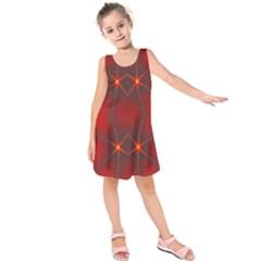 Impressive Red Fractal Kids  Sleeveless Dress