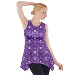 Purple With White Pagan Pentacles Wiccan Side Drop Tank Tunic by cheekywitch