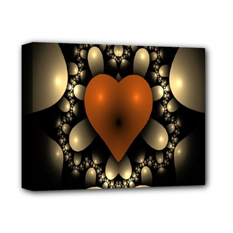 Fractal Of A Red Heart Surrounded By Beige Ball Deluxe Canvas 14  X 11  by Simbadda