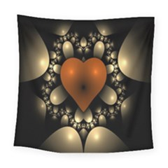 Fractal Of A Red Heart Surrounded By Beige Ball Square Tapestry (large) by Simbadda