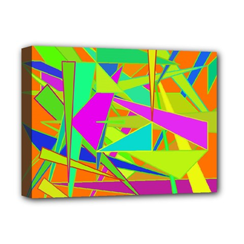 Background With Colorful Triangles Deluxe Canvas 16  X 12   by Simbadda