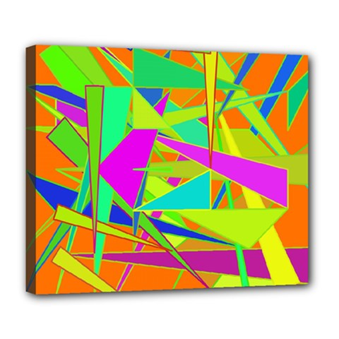 Background With Colorful Triangles Deluxe Canvas 24  X 20   by Simbadda