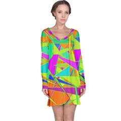 Background With Colorful Triangles Long Sleeve Nightdress